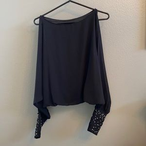 Off the shoulder Black Top pearled wrists